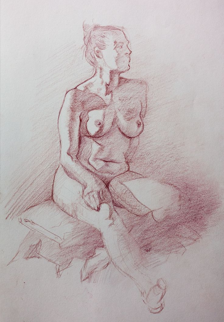 Life model drawing.  Polychromos color pencil on paper.  2016.