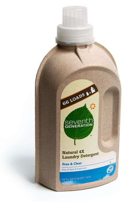 Laundry detergent bottle made from recycled paper with a thin inner plastic membrane