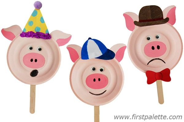 Even pigs have feelings!  Love! Three Little Pigs Paper Plate Masks