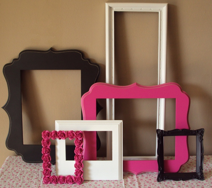 Picture Frames Paris Chic 6 Open Frames Mod Wall Gallery Fuschia Hot Pink Black White Wedding Home Decor Art