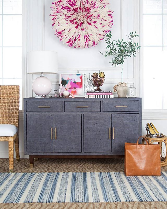 AFTER: Meet the Carmen Woven Raffia Credenza with Brass pulls and caps + the handwoven Bridgehampton chair in zambales peel native to my home islands! I'll be sharing my step by step styling on the SS blog! Meanwhile, shop it all including the fantastically feathery juju hat and gorgeous art work by @parimastudio in the shop!!!