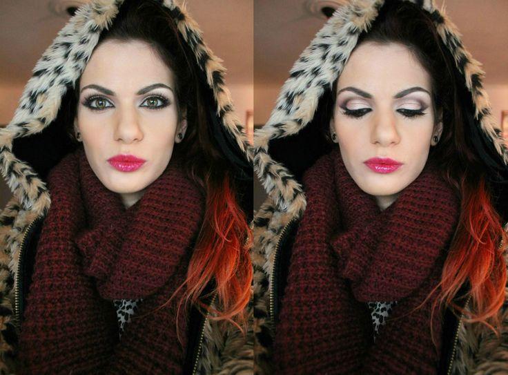 pink cut crease make-up
