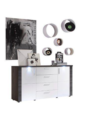 Trendteam XP87310 Sideboard Wohnzimmerschrank Esche Grau Nachbildung,  Fronten Weiß Nachbildung, BxHxT 150x82x42 Cm