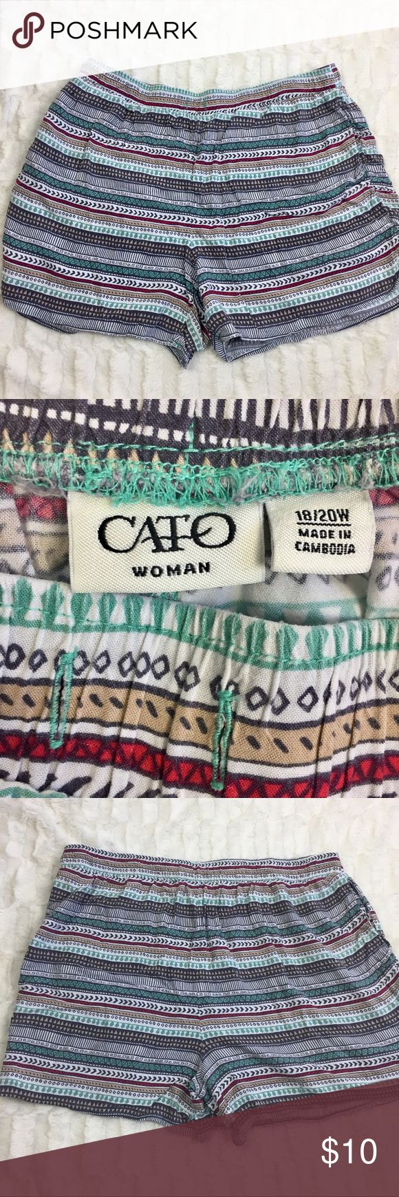 Cato size 18/20W Tribal Shorts. Super Trendy. Has Pockets. Cato 18/20W Tribal Shorts. 100% Rayon. Missing Draw String. Cato Shorts
