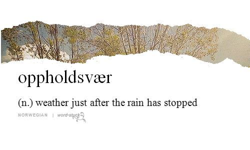 Words & Definitions   oppholdsvaer (n) weather just after the rain has stopped
