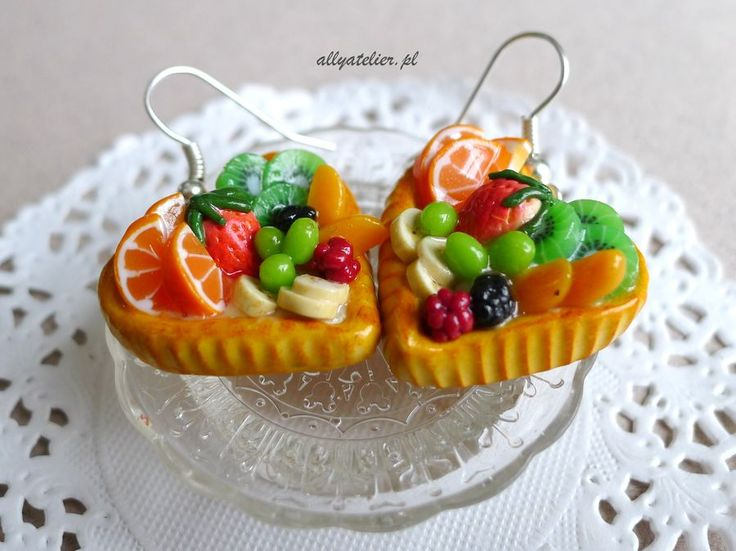 Miniature heart shaped fruit tarts earrings.