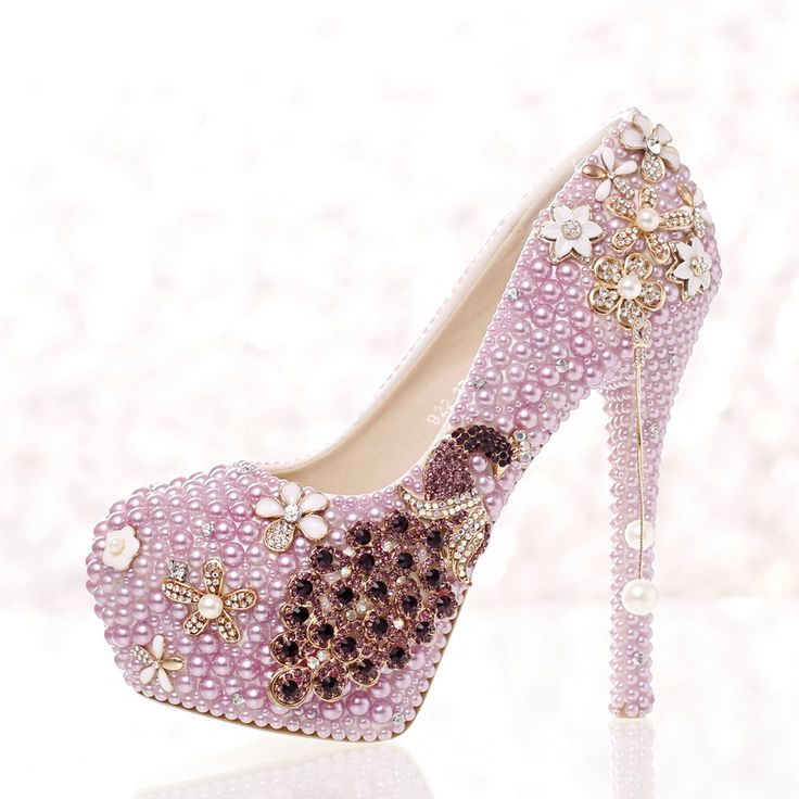 65.00$  Buy now - http://alingm.worldwells.pw/go.php?t=32653446305 - New purple pearl high heel bridal shoes round toe fashion women's shoes PUMPS peacock luxury wedding shoesfree shipping 65.00$