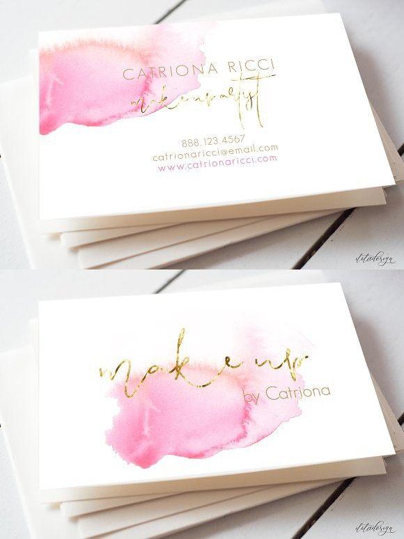 Watercolour Make Up Business Card Artist Business Cards Design