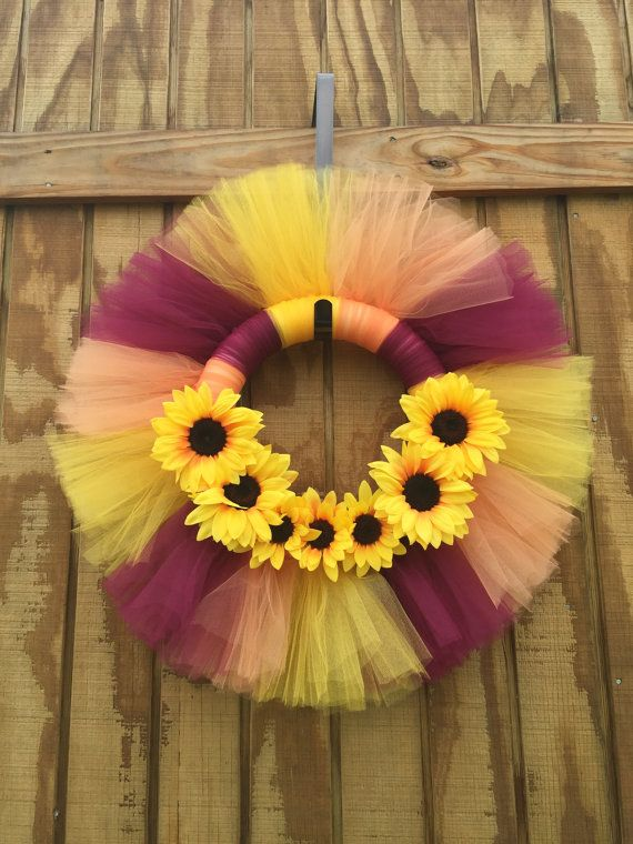 Hey, I found this really awesome Etsy listing at https://www.etsy.com/listing/242012816/sunflower-wreath-fall-tulle-wreath-fall