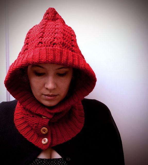 Crochet Hood Pattern: Crochet Version, Hoods Patterns, Red Riding Hood, Little Red, Woods Crochet, Crochet Patterns, Crochet Hoods, Hoodie Pattern, Neck Warmer