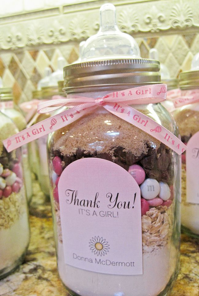 """Cookies in a bottle... Perfect """"thank you"""" party favor for baby shower, just use yellow m's and yellow ribbon."""