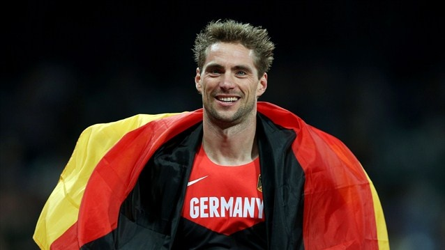 Silver medalist Bjorn Otto of Germany celebrates after the men's Pole Vault Final on Day 14 of the London 2012 Olympic Games.