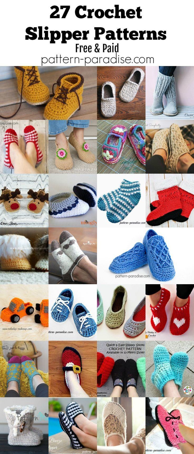 433 best crocheting shoes socks images on pinterest crochet finds crocheted slippers pattern paradise bankloansurffo Image collections