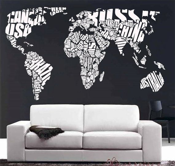 Large World Map Decal Wall Decal Vinyl Sticker Home Decor