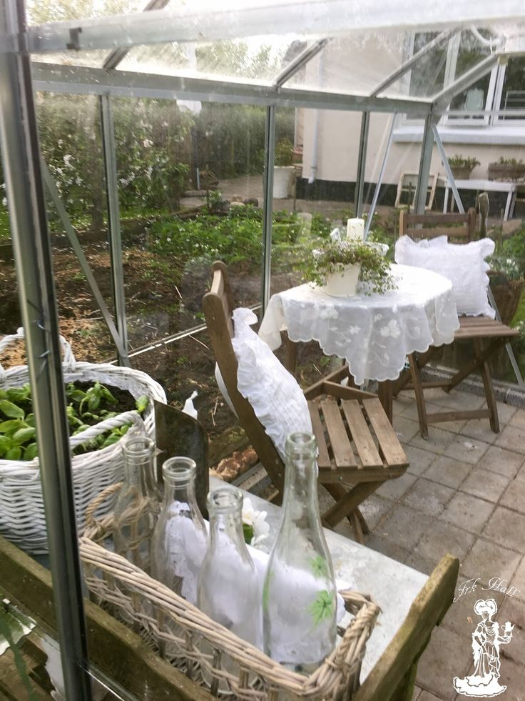 my lovely romantic shabby chic greenhouse, garden shed in my lovely garden