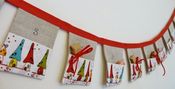 fabric advent calendar with pockets | Advent calendar... Going to start on this tomorrow. | DIY and Sewing