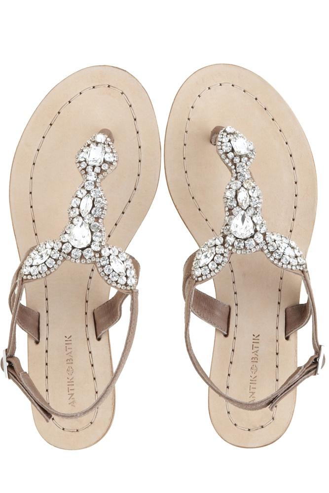 Sparkly flat sandals.