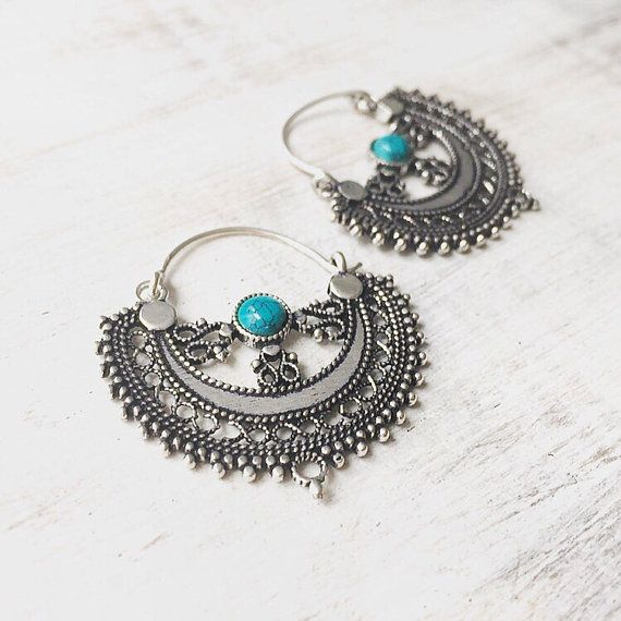 SAMPLE SALE - please read carefully before purchasing.  These earrings are both refined and ethnic - delicate silver tone metalwork surrounds a crescent