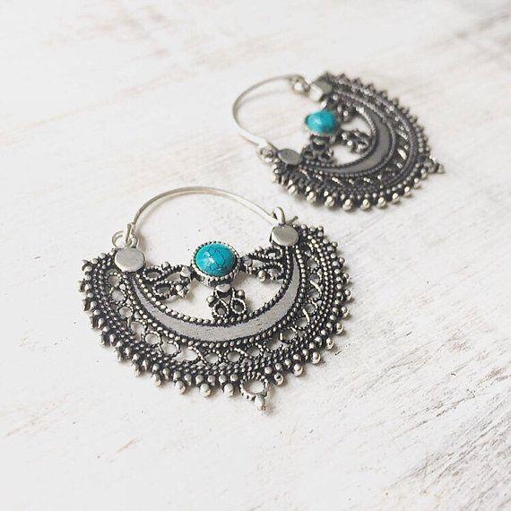 Silver tone boho earrings, indian style, gypsy earrings, turquoise, moonstone, labradorite, tribal earrings, moon earrings