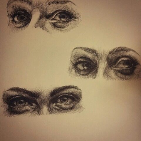 The trio is finally complete! :) pen eye drawings
