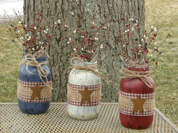 Primitive Americana Quart Jars-Crackle by HootOwlMeshCreations