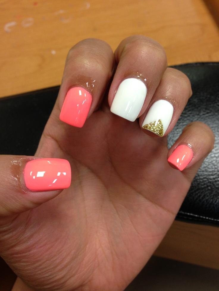 My Nail Polish Obsession My Birthday Nails: My Nails #white #peach #gold #nails