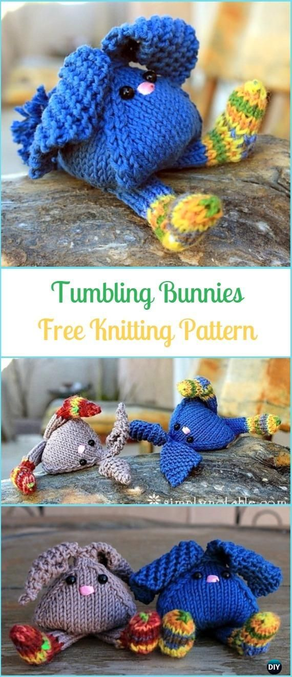 Amigurumi Tumbling Bunnies Free Knitting Pattern - Amigurumi Knit Bunny Toy Softies Free Patterns