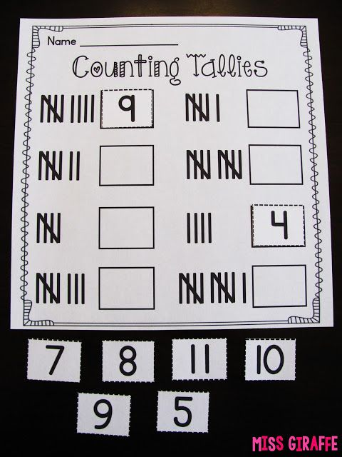 Counting tallies worksheet where kids count the tally marks to cut and paste the correct number