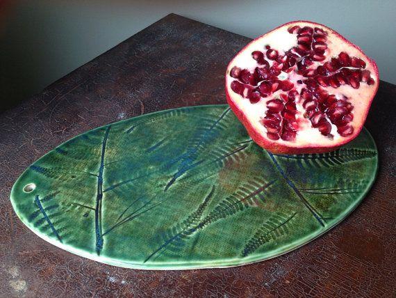 Tagliere in ceramica in abete rosso blu Fern di persimmonstreet