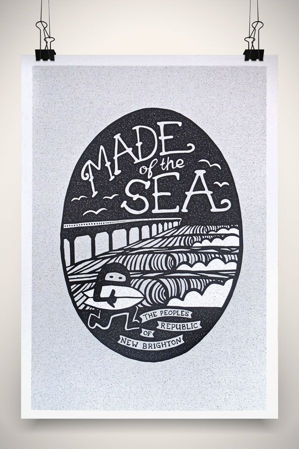 Made of the Sea Surf in New Brighton, Chch Print by Marie Ockleford
