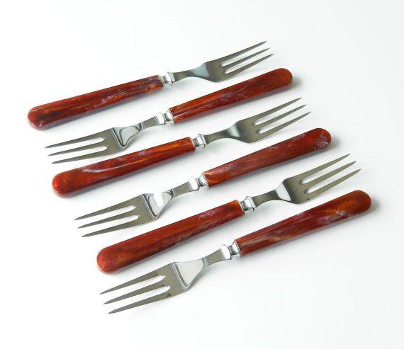 Danish Modern KAY BOJESEN Forks BRUN Vintage New in Box Universal Steel Company 1950s  Marvelous set of 6 KAY BOJESEN Danish Modern forks with brown