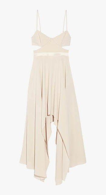 Halston Heritage cutout satin-trim stretch-crepe dress.