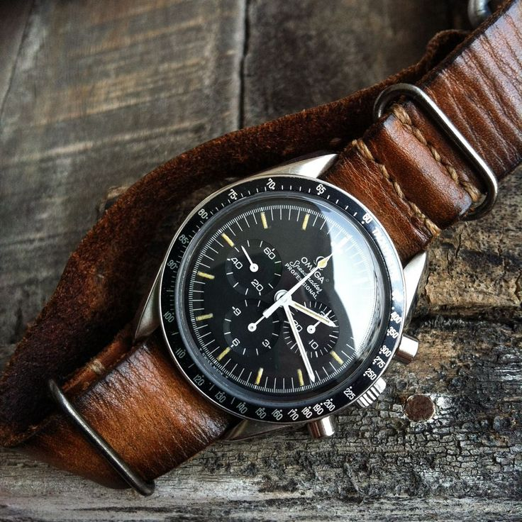 Omega Speedmaster Pro on a nice looking distressed leather nato strap