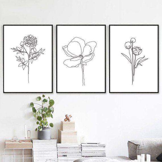 Floral Line Print 3 Piece Wall Art Botanical Line Art Flower Etsy Flower Wall Art Flower Line Drawings Simple Wall Art