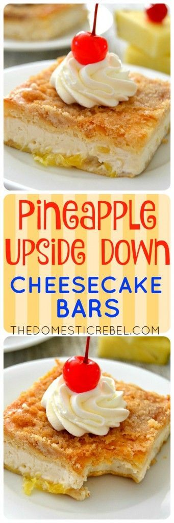 These Pineapple Upside Down Cheesecake Bars are such a fun spin on the classic cake! This EASY recipe takes minutes to prepare and features rich brown sugar juicy pineapple creamy cheesecake and a brown sugary crust that's positively irresistible!
