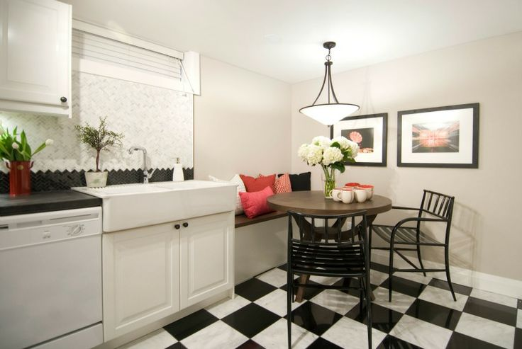 Basement Kitchen + Eating Nook | PARA Paints Walls: SHAVED COCONUT, P5242-34 Ceilings: WIZARD WHITE, PF29 | Income Property | HGTV Canada