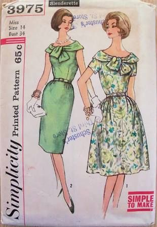"""Simplicity 3975. 1950-60's dress. Bust 34"""". Original. Complete, but missing envelope (that's why this image is re-pinned rather than uploaded by myself)."""