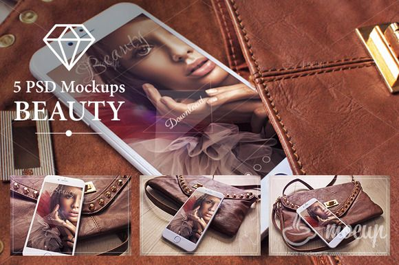 5 PSD iPhone 6 Mockups Beauty by Mocup, mockupdeals.com on Creative Market