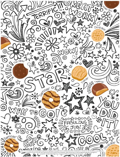Looking for an easy way to teach the Girl Scout Cookie names? Print this Girl Scout Cookie coloring sheet for a simple meeting activity.