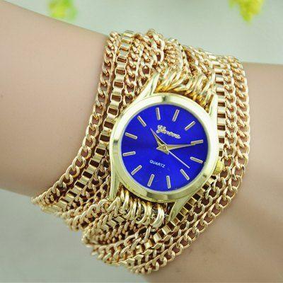 Llévalo por solo $20,000.Cadena de reloj de cuarzo de las mujeres de oro de Ginebra del cuerpo con la correa de acero inoxidable.