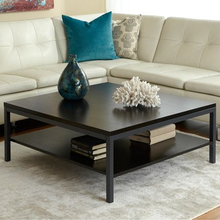Parson Square Coffee Table - Shelf, Steel Frame, Espresso | DCG Stores