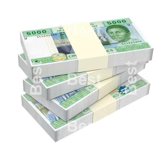 Central African CFA francs isolated on white background