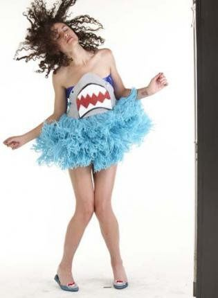 shark dress made of sequins and yarn - Halloween Costume Shark