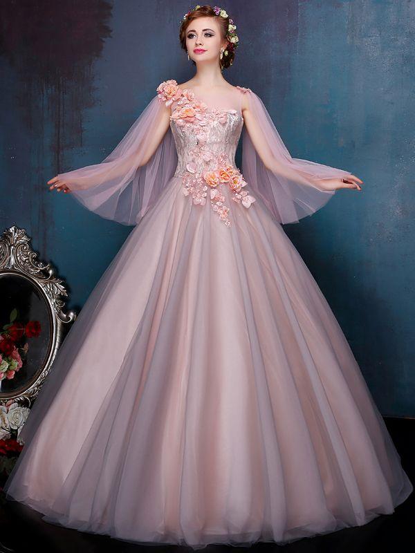 Gorgeous 3-D Appliques Lace Beading Cap Sleeves Scoop Neck Zipper-up Court Train Floor Length Ball Gown Dress