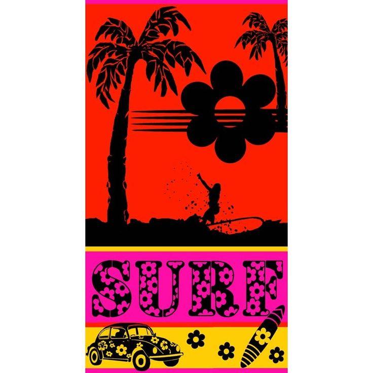 Disponible sur Autourdelaplage.fr Drap de Plage Surf Dream 95x175cm Orange