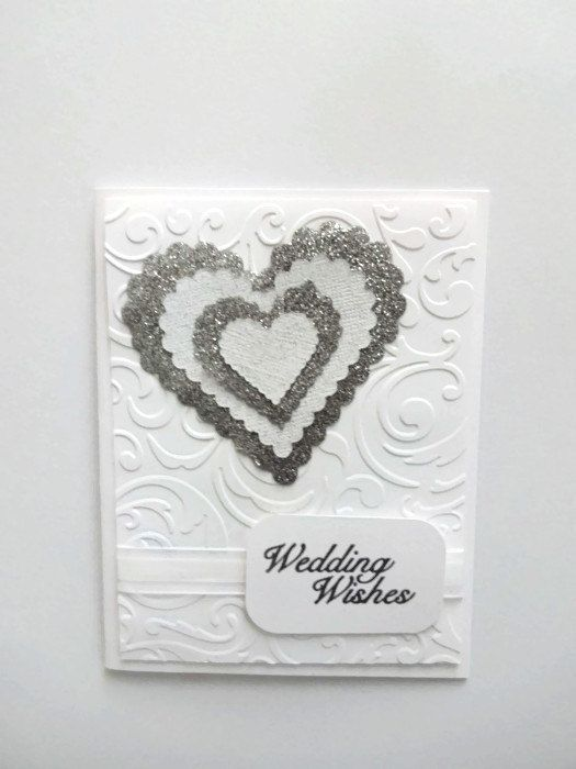 Wedding Card White & Silver Wedding Card por lilaccottagecards