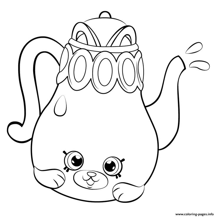 Print Petkins Tea Pot From Season 5 Shopkins Coloring Pages