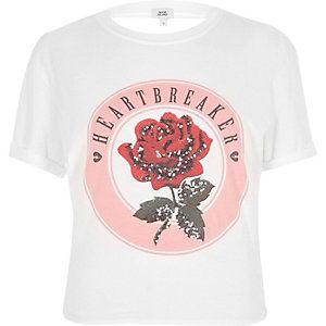 Wit T-shirt met strik op de rug en Heartbreaker-print