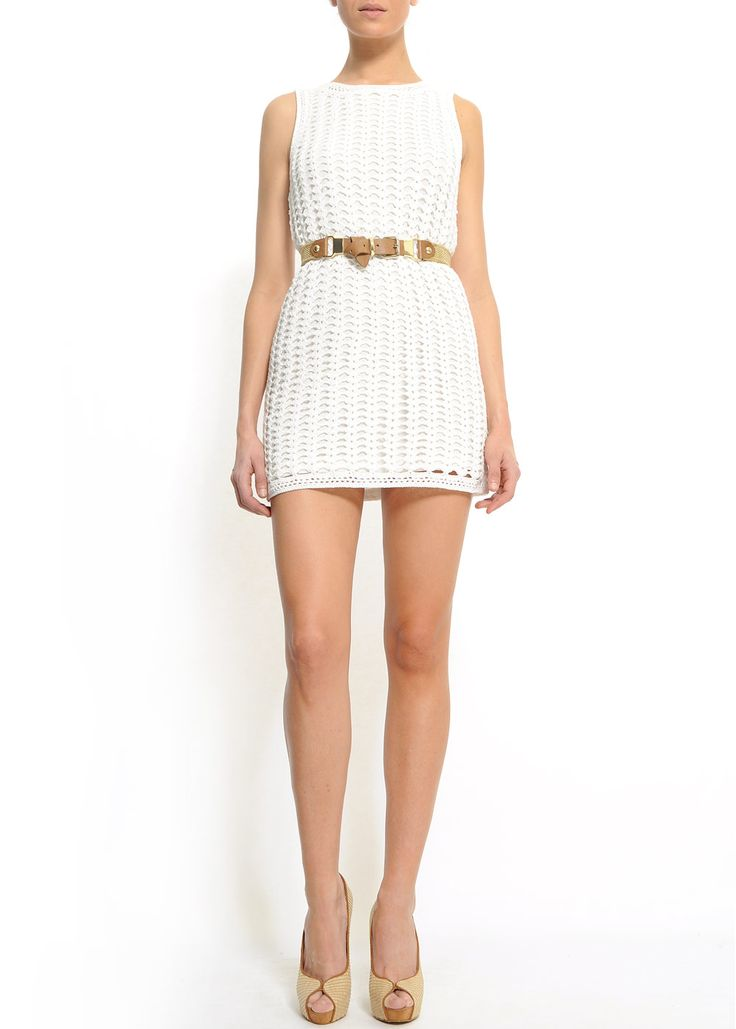 DRESS RAC NIKKO $99.90 Relaxed-fit short crochet dress with lining and a round-neck.