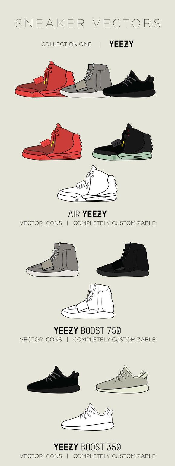 Yeezy Sneaker Vectors - Collection 1
